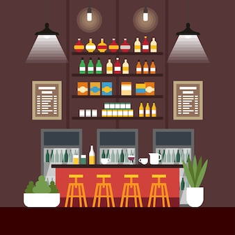 Illustration vectorielle coworking cafe interior flat.
