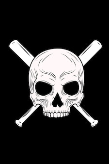 Illustration vectorielle de crâne et batte de baseball