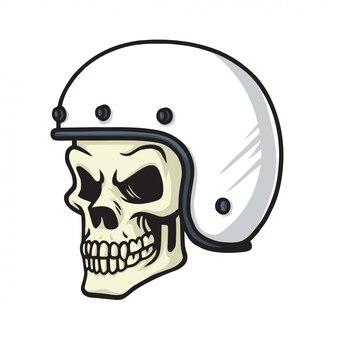 Illustration vectorielle de crâne biker helmet