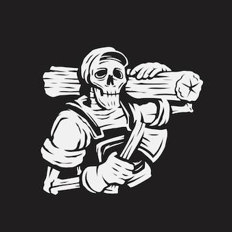 Illustration vectorielle de crâne charpentier mascotte