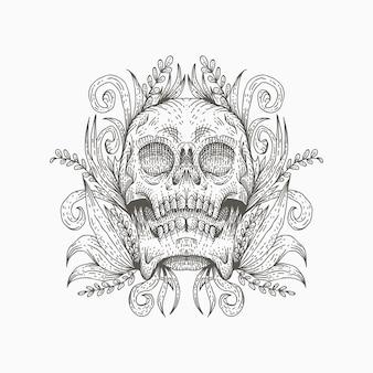Illustration vectorielle de crâne décoration