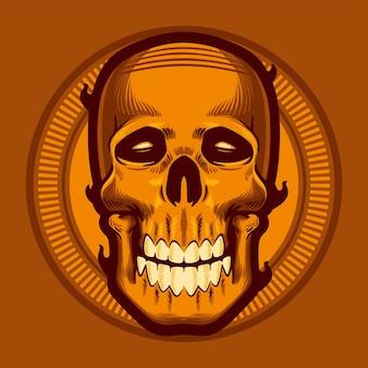 Illustration Vectorielle De Crâne Doré Vecteur Premium