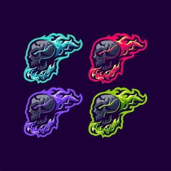 Illustration vectorielle de crâne feu logo design