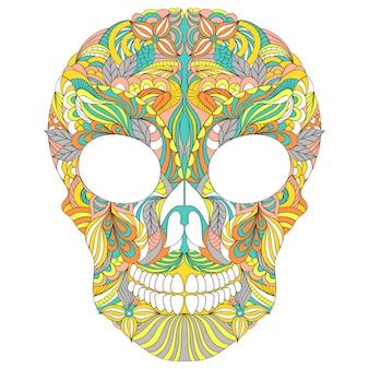 Illustration vectorielle de crâne floral sur fond blanc.