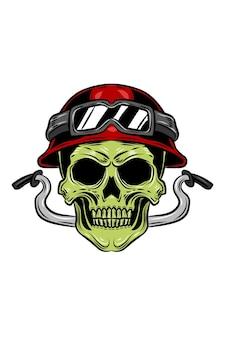Illustration vectorielle de crâne et guidon