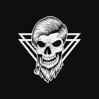 Illustration vectorielle de crâne homme fumée