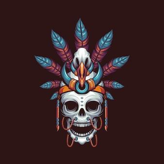 Illustration vectorielle de crâne indien dayak