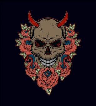 Illustration vectorielle de crâne avec ornement de fleurs
