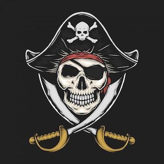 Illustration vectorielle crâne pirate vintage dessinée à la main
