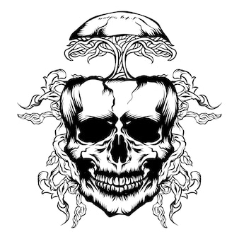 Illustration vectorielle de crâne et de racines d'arbres
