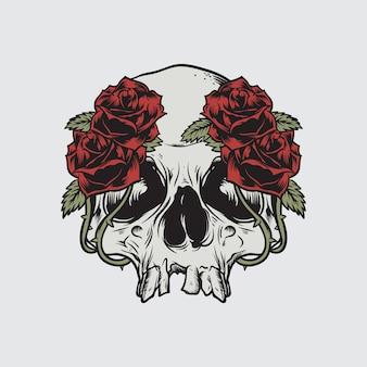 Illustration vectorielle de crâne roses mort