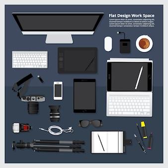 Illustration vectorielle de créatif & graphique outil de travail espace de travail isolé