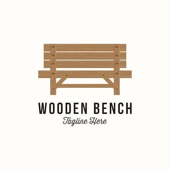 Illustration vectorielle de la création de logo de chaise de parc. banc en bois de parc de vecteur.
