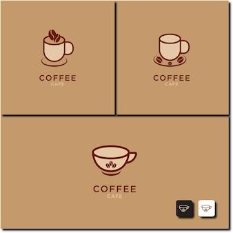 Illustration vectorielle de la création de logo de jeu d'icônes de tasse de café chaud