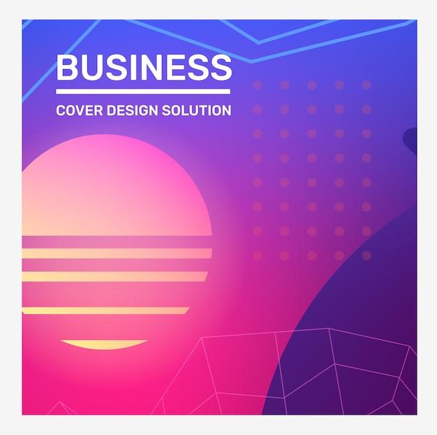 Illustration vectorielle créative rose et bleue avec abstraction de grille de points de forme de ligne néon