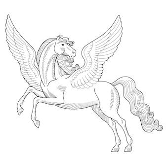 Illustration vectorielle de la créature mythologique grecque pegasus sketch isolé sur fond blanc