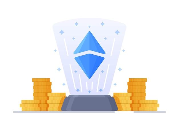 Illustration vectorielle de cristaux et d'éthereum concept de crypto-monnaie et de blockchain