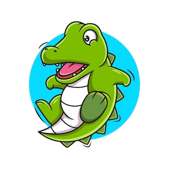 Illustration vectorielle de crocodile mignon dessin animé