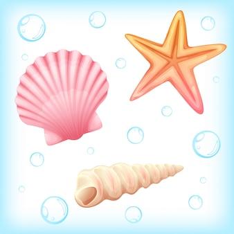 Illustration vectorielle de crustacés et étoiles de mer