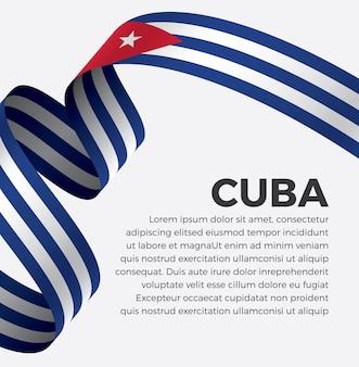 Illustration vectorielle de cuba ruban drapeau sur fond blanc vecteur premium