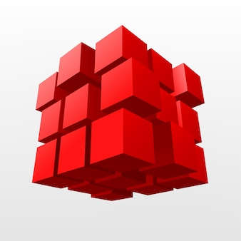 Illustration vectorielle de cube rouge abstrait