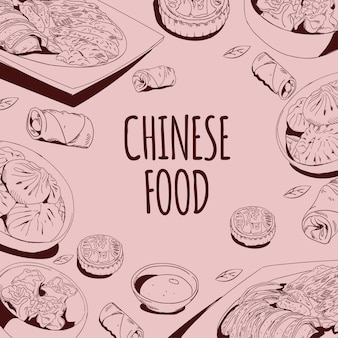 Illustration vectorielle de cuisine chinoise doodle