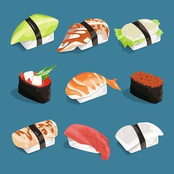 Illustration vectorielle de la cuisine classique japonaise.