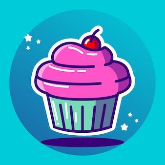 Illustration vectorielle de cup cake sucré
