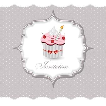 Illustration vectorielle de cupcake invitation carte