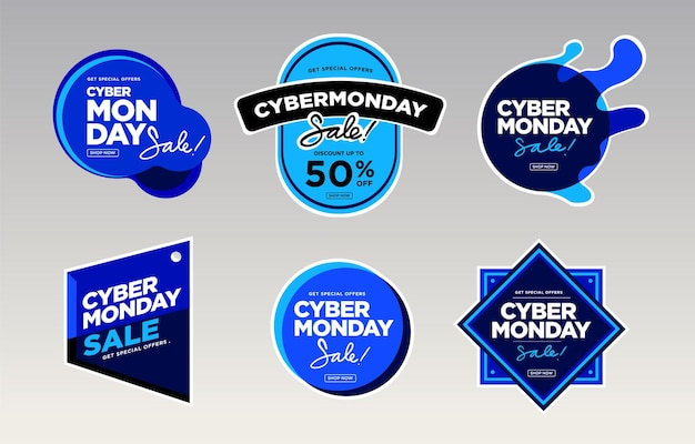 Illustration vectorielle cyber monday vente pour autocollant et badge