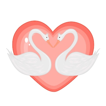 Illustration vectorielle avec des cygnes le jour de la saint-valentin.