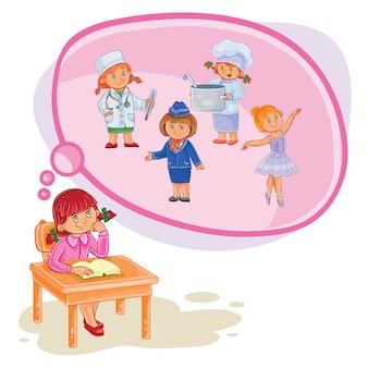 Illustration vectorielle d'une petite fille qui rêve