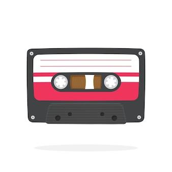 Illustration vectorielle dans un style plat cassette audio rétro noire