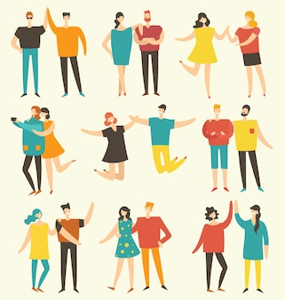 Illustration vectorielle dans un style plat de différentes activités de personnes