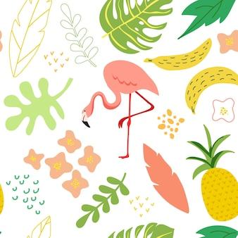 Illustration vectorielle dans un style plat simple à la mode, arrière-plan harmonieux de printemps et d'été avec flamant rose, plantes, feuilles, fleurs pour bannière, carte de voeux, affiche, couverture, motif