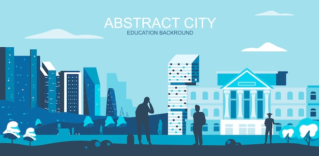 Illustration vectorielle dans un style plat simple - université, campus universitaire avec des étudiants