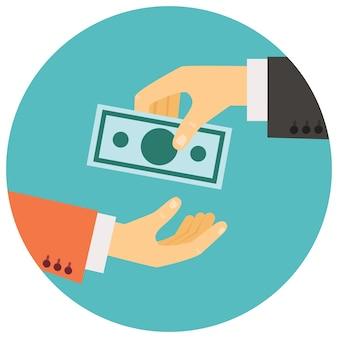 Illustration vectorielle dans un style rétro, main donnant de l'argent à l'autre main