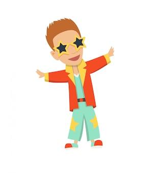 Illustration vectorielle de danseuse disco de dessin animé avec des lunettes étoiles.