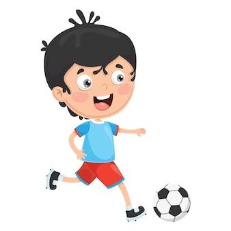 Illustration vectorielle de l'enfant qui joue au football