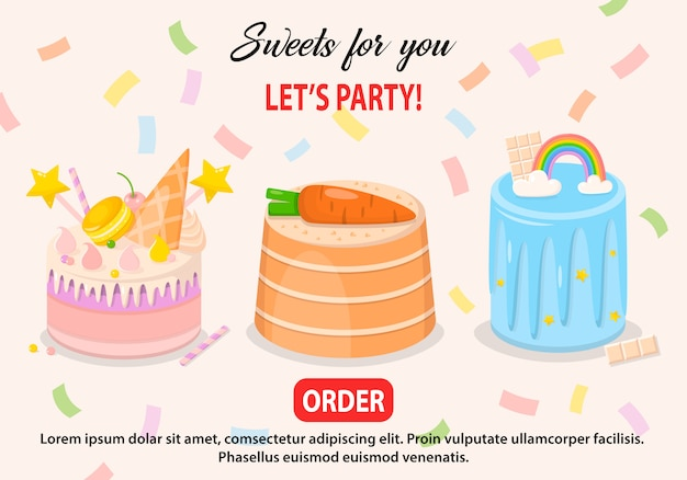 Illustration vectorielle définie des gâteaux fantaisie