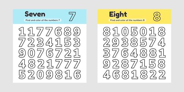 Illustration vectorielle. définir une feuille de calcul éducative pour les enfants d'âge préscolaire, d'âge préscolaire et scolaire. nombres. trouvez et coloriez.