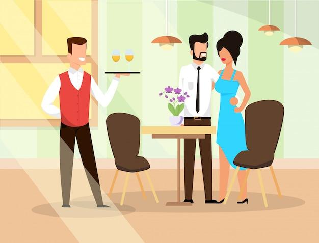 Illustration vectorielle déjeuner au restaurant cartoon.