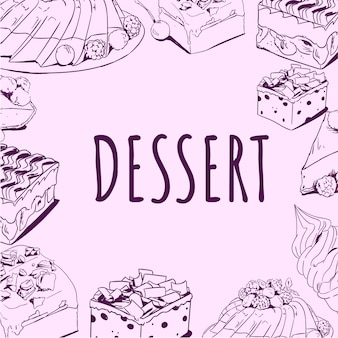 Illustration vectorielle de délicieux desserts dessinés à la main doodle