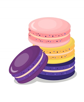 Illustration vectorielle de délicieux macarons cartoon