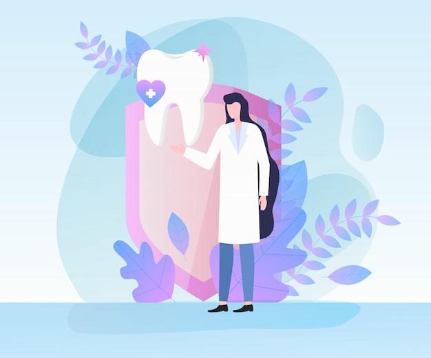 Illustration vectorielle de dentiste femme dent blanche santé santé concept.