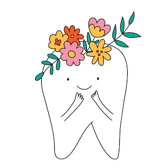 Illustration vectorielle de dents mignonnes dentiste imprimer pour le dentiste bon pour les affiches cartes postales t-shirt