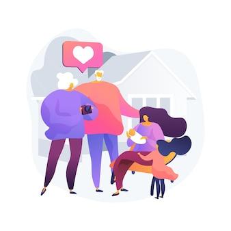 Illustration vectorielle de descendant concept abstrait. lignée d'ancêtres, progéniture de personnes, petite-fille de petit-fils, relations de générations, grand-père heureux, métaphore abstraite de la famille ensemble.