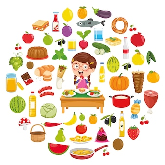 Illustration vectorielle de design concept alimentaire