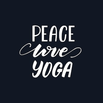 Illustration vectorielle avec design de lettrage peace love yoga