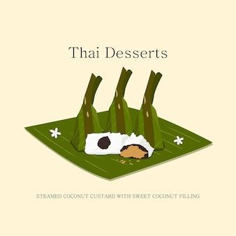 Illustration vectorielle de desserts thaïlandais à base de lait de coco noix de coco et remplissage de sucre